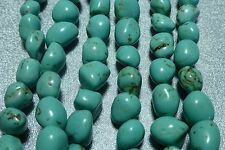 8-10mm turquoise stone nugget beads, 3 strands 45 bds/st, New Old Stock BIN12