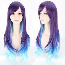 Harajuku Style Wig Long Slight Wavy Curly Purple Blue Hair Cosplay Costume Wig