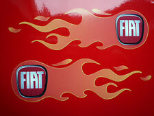 "FIAT New 500 Logo Flames CAR STICKERS Handed 6"" Pair Hot Rod Grande Punto Panda"