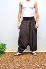 Thai Fisherman Pants Mens Yoga Baggy Boho Aladdin Cotton, Free size, Brown