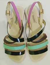 Timeless black, green & pink strappy sandals, brand new size 6 UK, 39 EU.