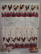 Americana Rooster 24L Tiers Valance Kitchen Curtains Set