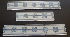 RARE Vintage MAKKUM Crown Mark HOLLAND LOT 8 TILES DELFT BLUE Dutch BORDER TRIM