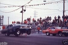 HUBERT PLATT VS FAMOUS CHEVY NOVA FUNNY CAR AT LIONS    8X12  DRAG RACING PHOTO