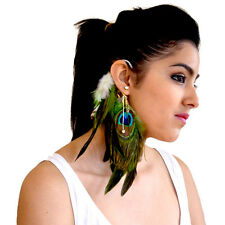 Gold Ear Cuff Peacock Feather Earrings Fashuun Village Designer Style - Pierced