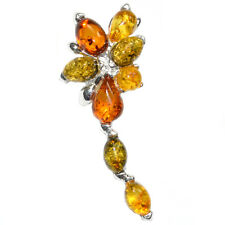 3.8g Authentic Baltic Amber 925 Sterling Silver Pendant Jewelry A1993