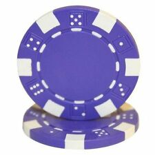 50 Clay Composite Dice Striped 11.5-Gram Poker Chips (PURPLE)