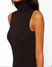 Branded Sleeveless Body with Polo Neck UK 10 EU 38 US 6 Black
