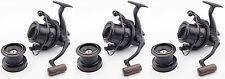 3x Wychwood Riot Big Pit Matt Black 65S Carp Fishing Distance Reel + Spare Spool