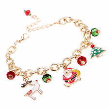 New Desige Beaded Santa Claus Charm Bracelet Xmas Women Bangle Christmas Gift