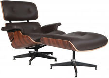 eMod Eames Style Lounge Chair & Ottoman Premium Reproduction 100% Leather Brown