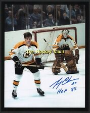Bobby ORR CHEEVERS Signed HOME Uniform BOSTON Bruins FACE OFF 8X10 w/bb COA HOL