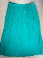 M&S LONG CREPE SKIRT IN GREEN WITH PLEATED WAIST & BOW ON LEFT SIDE-SIZE 18 BNWT