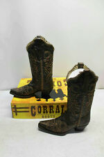 Corral Boots Sz 7.5M Womens Black/Bronze Studded Whip Stitch Western Boots R1217