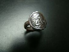 Beautiful Antique style Sterling Silver cherub ring with genuine diamonds
