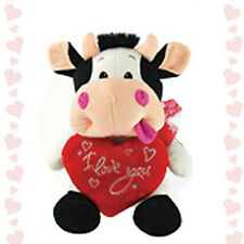"8"" Stuffed Animal Plush Cow I LOVE YOU Heart Doll Toy Valentine Graduation Day"