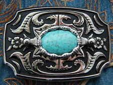 NEW HANDCRAFTED IN U.K. NEW  BELT BUCKLE SILVER METAL TURQUOISE COLOUR,WESTERN