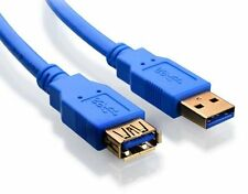 Premium Gold Plated Blue 6Ft 6Feet USB 3.0 A Male to Female Extension Cable Cord