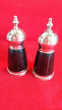 Vintage Salt & Pepper Condiment / Cruet Set, Silver Plated, heavy Marble ?