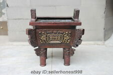 Chinese Feng Shui Bronze Attract Wealth Dragon Ding tripod Incense Burner
