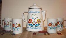 Vintage Scandinavian Decorative Enamel Coffee/Chocolate Pot W/4 Matching Mugs