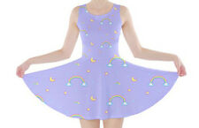 pixel rainbow lilac skater dress fairy kei decora kawaii pastel - size M