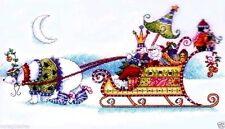 "Dimensions Counted Cross Stitch kit  14"" x 8"" ~ SNOW BEAR AND SLEIGH #70-08864"