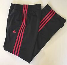 Adidas Athletic Track Training Pants Size XS Black Pink Stripes Running