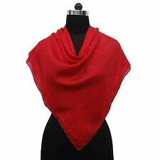 New 100% Silk Women Wrap Square Solid Fashion Soft Scarf Red Indian Hijab Stole