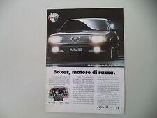 advertising Pubblicità 1986 ALFA ROMEO 33 QUADRIFOGLIO ORO