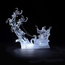 ACRYLIC LED 17.5 CM CHRISTMAS REINDEER AND SANTA ON SLEIGH ORNAMENT DECORATION *