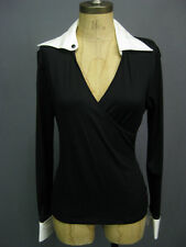 Anne Fontaine Alina Black White French Cuff Collar Blouse Top 38