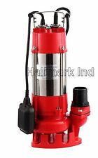 Sewage Pump, SS 1/2HP 115V, 26' lift, Max 3200 GPH. 20' Cable & plug, Heavy Duty