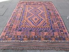 Kilim Old Traditional Hand Made Afghan Oriental Large Kilim Pink Wool 277x205cm