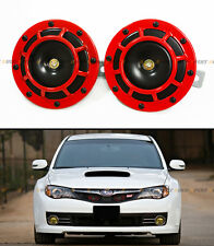 2 RED BLK GRILL MOUNT COMPACT SUPER LOUD HORNS FOR MITSUBISHI EVO LANCER 7 8 9 X