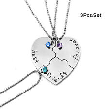 New 3Pcs/Set Best Friends Forever and Ever Necklace Heart Puzzle Pendant Jewelry
