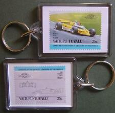 1981 RENAULT RE20 F1 GP (Alain Prost) Car Stamp Keyring (Auto 100 Automobile)