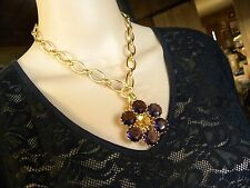 COACH AMETHYST CRYSTALS & GOLD ELECTROPLATED SIGNATURE  STATEMENT NECKLACE
