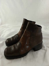 Ladies Mexx Multi Brown Leather Mid Heel Zip Fastening Ankle Boots EU37