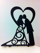 Silhouette Heart Bride & Groom Kissing Acrylic Swirl Wedding Cake Topper