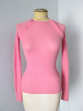 Marc Jacobs pink 100% cashmere thermal style sweater tee top shoulder buttons XS