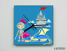 Boy Knight Castle Wall Clock - Kids Nursery Room - Wall Clock