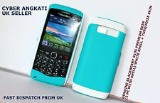 GENUINE BLACKBERRY 9105 PREMIUM SKIN (2 PC) WHITE SHELL + TURQUOISE SKIN