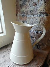 Cream Zinc Jug 16cm height, Vintage Shabby Chic Country Style, Flowers, Vase