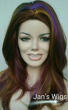 CHIC High Style Ultra Long Wig Red Blondes Mix Subtle Purple Streaks Skin Top