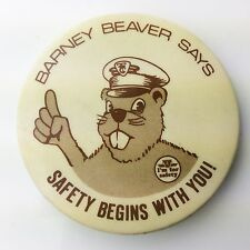 Barney Beaver Says Safety Begins With You TTC Toronto Transit Pinback Pin A559