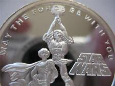 1- OZ.999 PROOF SILVER COIN STAR WARS  (LUKE SKYWALKER PRINCESS LEIA ) + GOLD