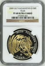 Kazakhstan 2009 Tiger 100T 1 Oz Silver Gilt Crystal Eyes NGC PF68 UC Certificate