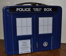 """Doctor Who BBC Metal Lunch Tin Dalek Brand New Police Public Call Box 8.75 x 7"""""""