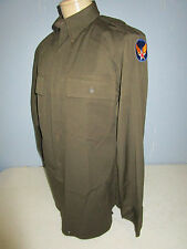 WWII AAF AIR FORCE OFFICER CHOCOLATE BROWN DRESS SHIRT WITH PATCH
